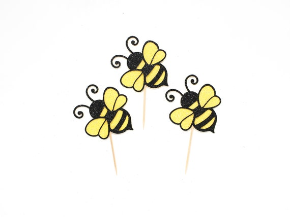 Bee Cupcake Toppers - Glitter - Mommy to Bee Party. 1st Bee Day. Bumble Bee Birthday Party Decorations. What Will It Bee Baby Shower.