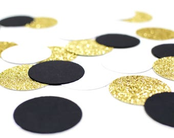 "Black + White + Gold Glitter Circle Confetti - 1"" - Wedding. Bachelorette Party. Bridal Shower. Baby Shower. Engagement. First Birthday."