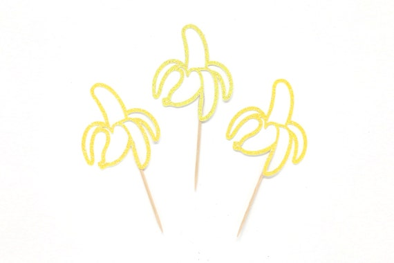 Banana Cupcake Toppers - Glitter - Tropical First Birthday - Fiesta Decorations - Banana Party - Fruit Cupcake Toppers - Fiesta Party Theme