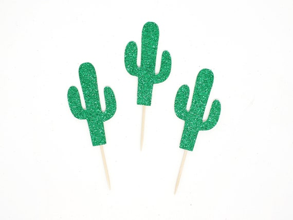Cactus Cupcake Toppers - Glitter - First Fiesta Birthday Decor. Cactus Party Decor. Tropical Wedding. Fiesta Bridal Shower.