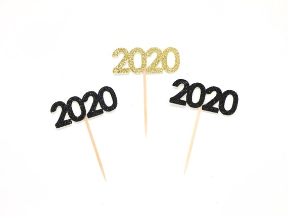 2020 Cupcake Toppers - Glitter - Graduation Party Decor. New Years Eve Decor. Happy New Year. Grad 2020. Graduation 2020. Senior 2020.
