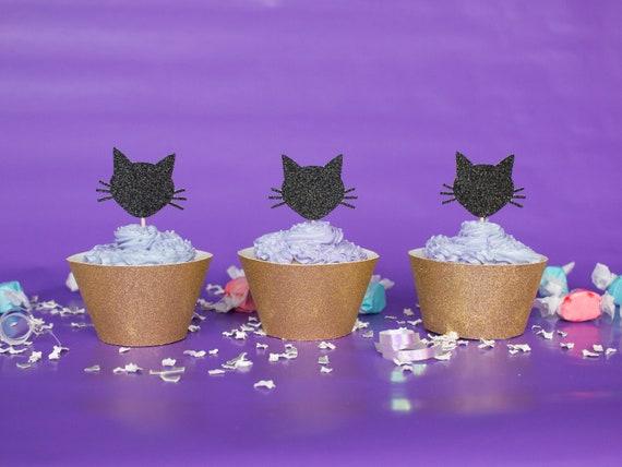 Cat Cupcake Toppers - Glitter