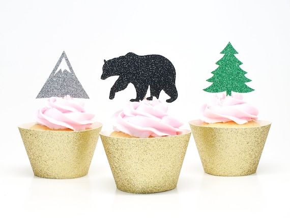 Woodland Party Cupcake Toppers  -  Woodland Baby Shower. Woodland Party Decorations. Woodland Birthday Party. Bridal Shower Decor.