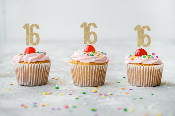 Number 16 Cupcake Toppers - Sixteenth Birthday. Number Cupcake Toppers. 16th Birthday Decorations.