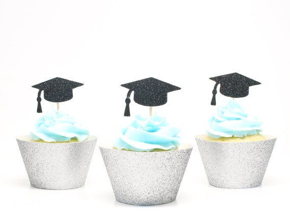Grad Cap Cupcake Toppers - Glitter - Graduation Party Decorations. Grad 2019. Graduation 2019. Senior 2019. Grad Party Decor.
