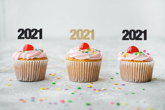 2021 Cupcake Toppers - Glitter - Graduation Party Decor. New Years Eve Decor. Happy New Year. Grad 2021. Graduation 2021. Hello 2021.