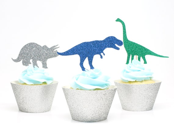 Dinosaur Cupcake Toppers  -  Dinosaur Birthday Party. Tyrannosaurus Rex. Dino Party Decorations.