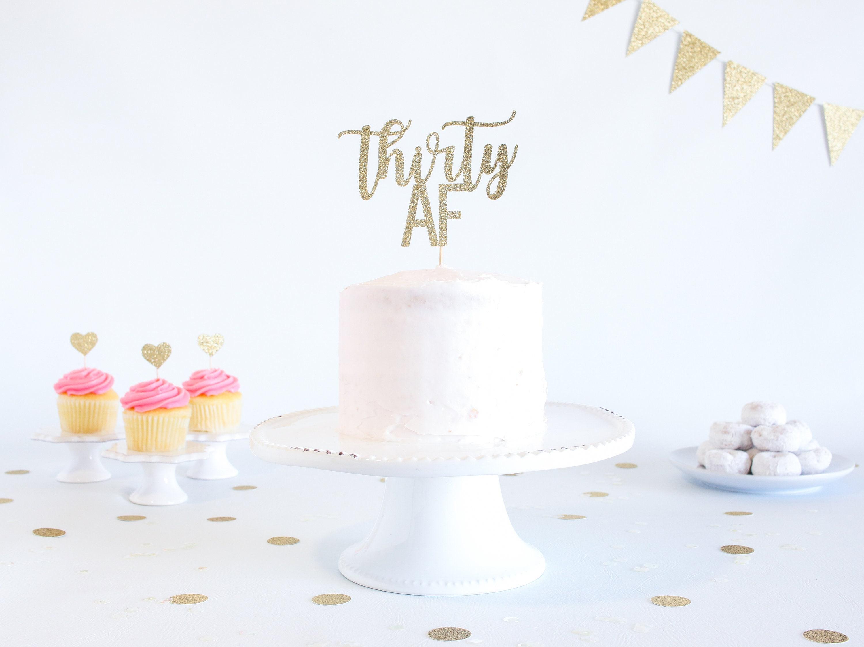 Groovy Thirty Af Cake Topper Glitter Birthday Cake Topper Funny Funny Birthday Cards Online Overcheapnameinfo
