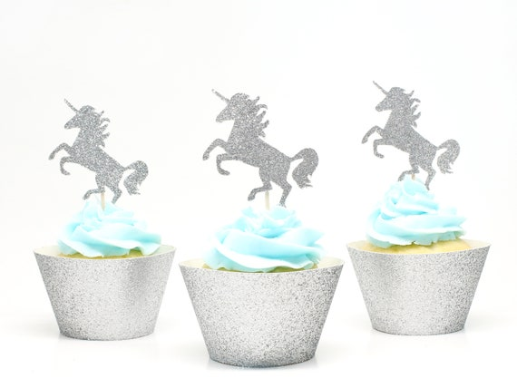 Unicorn Cupcake Toppers - Silver Glitter - First Birthday Decor. Unicorn Party Decor. Birthday. Bachelorette Party. Unicorn Birthday Party.