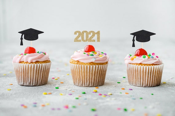 Graduation 2021 Cupcake Toppers - Glitter - Graduation Party Decorations. Grad 2021. Graduation 2021. Senior 2021. Graduation Cupcake Picks.