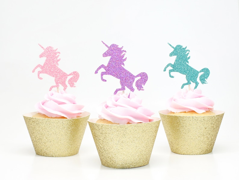 Unicorn Cupcake Toppers  Glitter  First Birthday Decor. Purple + Pink + Aqua
