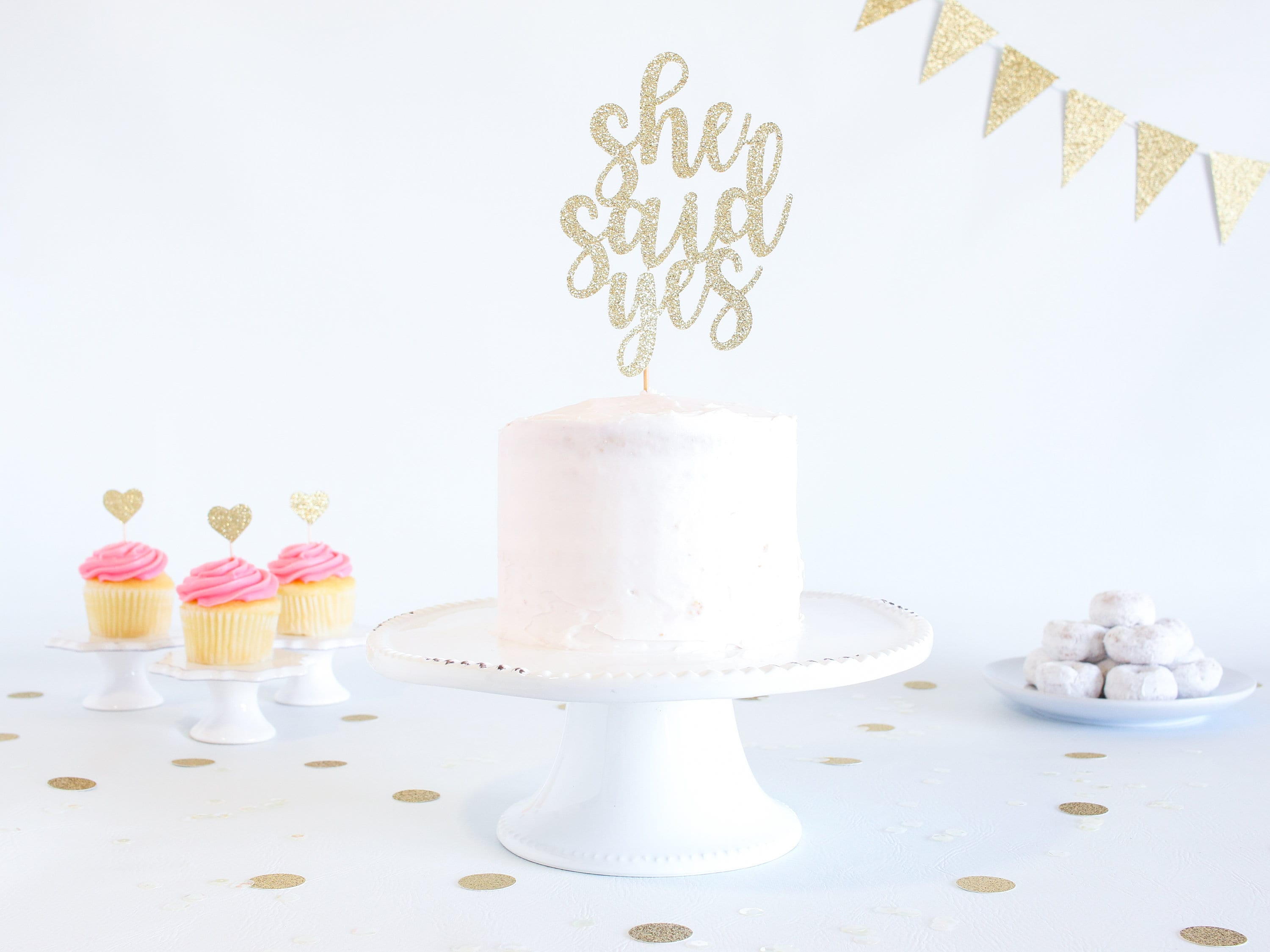 6afb750c040 She Said Yes Cake Topper - Glitter - Engagement Party. Bachelorette ...