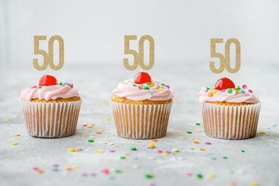 50 Cupcake Toppers - Fiftieth Birthday. Number Cupcake Toppers. 50th Birthday Decorations.