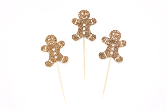 Gingerbread Man Cupcake Toppers - Glitter - Holiday Cupcake Toppers. Christmas Cupcake Decorations. Christmas Party Decor. Holiday Baking.