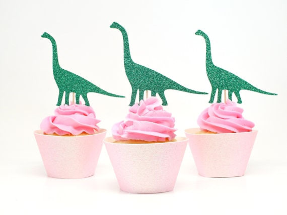 Dinosaur Cupcake Toppers  -  Brachiosaurus. Dinosaur Birthday Party. Dino Party Decorations.