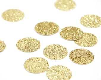 "Gold Glitter Circle Confetti - 1"" Confetti. Wedding. Bachelorette Party. Bridal Shower. Baby Shower. Engagement. First Birthday."