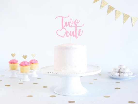 Two Cute Cake Topper - Glitter - Second Birthday. Birthday Cake Topper. Smash Cake Topper. Birthday Party. 2nd Birthday Party.