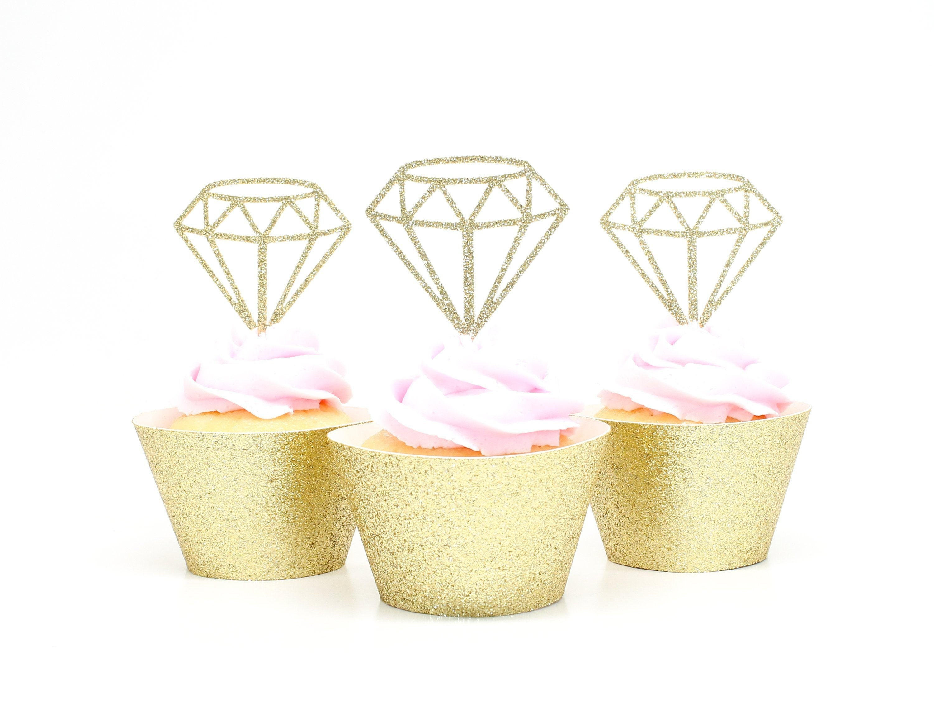 dbfe200f68391 Diamond Cupcake Toppers - Gold Glitter - Bachelorette Party ...