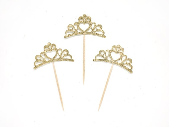 Tiara Cupcake Toppers - First Birthday - Princess Birthday Girl. Royal Theme Shower. Princess Birthday Party.