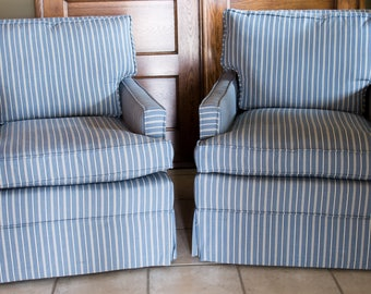 Blue And White Striped Chair | Reupholstered Vintage Chair