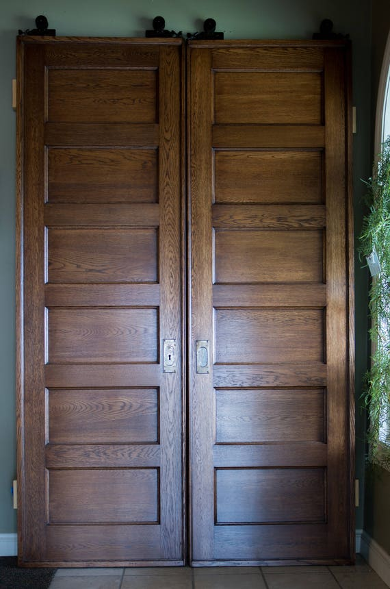 image 0 - Antique Quarter Sawn Oak Doors With Hanging Pulley Wheels Etsy