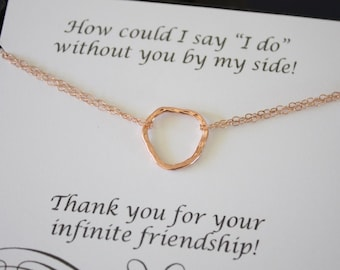 Rose Gold Bridesmaid Necklace Karma, Ring Bridesmaid Gift, Thank You Card, Sterling Organic Karma Necklace, Mother of the Bride, Pink Gold