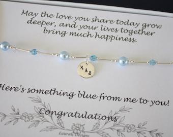 Something Blue Anklet, Bride Gift, Blue Swarovski Pearl Anklet, Charm Anklet, Initial Sterling Silver Adjustable Anklet, Couples Charm