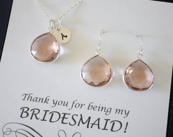Monogram Bridesmaid Necklace and Earring set Champagne, Bridesmaid Gift, Champagne Quartz, Sterling Silver, Initial Jewelry, Personalized
