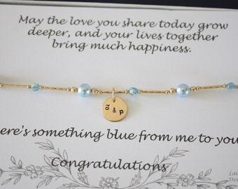 Something Blue Gold Anklet, Bride Gift, Blue Swarovski Pearl Anklet, Charm Anklet, Initial Gold Filled Adjustable Anklet, Couples Charm