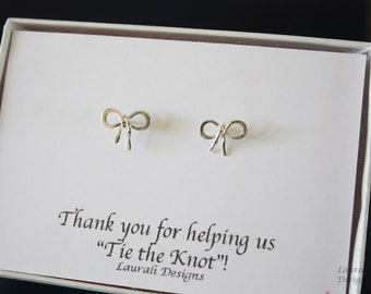 Bow Earrings Small Sterling Silver, Tie the Knot Earrings, Bridesmaid Gift, Flower Girl Gift, Thank you card, Bow Earrings