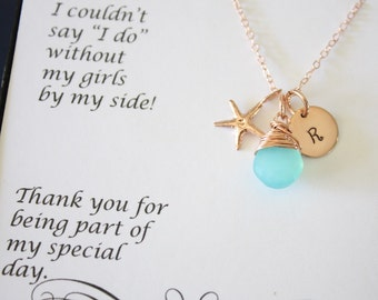 9 Bridesmaid Necklace Rose Gold Personalized Starfish, Bridesmaid Gift, Beach Wedding, Pink Gold, Gemstone, Initial jewelry, Thank you Card