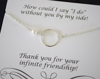 Karma Bridesmaid Necklace, Infinity Bridesmaid Gift, Thank You Card, White Pearl, Sterling Silver Karma Necklace, Mother of the Bride