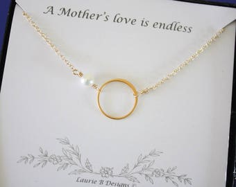 Mother Gift, Mother Karma Necklace, Wedding Gift Thank You Card, White Pearl, Infinity Necklace, Gold Necklace Karma, Mother of the Bride
