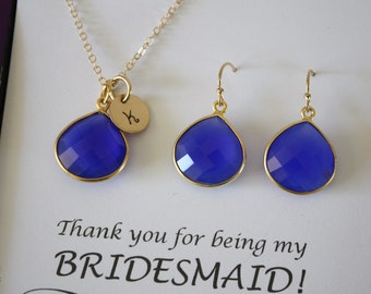 Monogram Bridesmaid Necklace and Earring set Blue, Bridesmaid Gift, Dark Blue, Royal, Cobalt, 14k Gold Filled, Initial Jewelry, Personalized