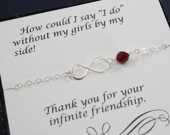 Bridesmaid Infinity Anklet, Infinity Eternity Jewelry, Silver Infinity, Birthstone Anklet, Bridesmaid Gift, Thank You Card, Anklet