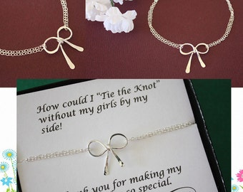 10 Bridesmaids Bow Bracelets, Tie the Knot, Bridesmaid Gifts, Silver Bow,  Silver Knot, Thank you card