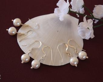 9 Bridesmaid Earrings, Pearl Earrings, Sterling Silver Earrings