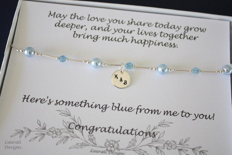Something Blue Anklet Bride Gift Blue Swarovski Pearl image 0