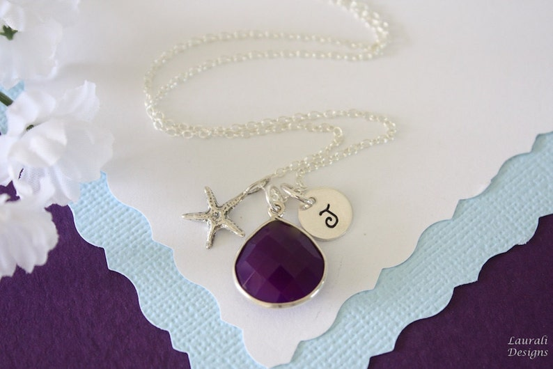 4 Starfish Initial Bridesmaid Necklace and Earring set Purple Personalized Sterling Silver Dark Plum Gemstone Bridesmaid Gift Jewelry