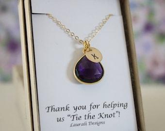 6 Bridesmaid Monogram Necklace Gold Amethyst, Bridesmaid Gift, Purple Quartz, Gold, Initial Jewelry, Personalized, Jr Bridesmaid Gift