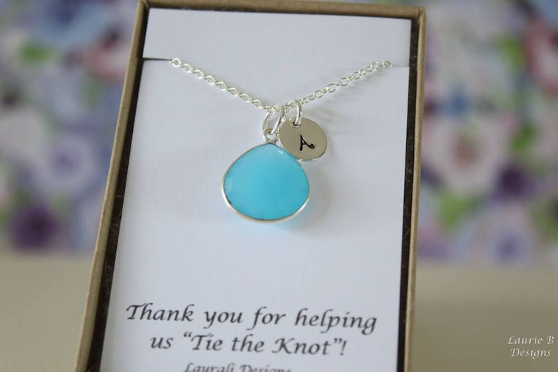 Blue Gemstone Initial Jewelry Jr Bridesmaid Gift Personalized 6 Monogram Bridesmaid Necklace Aqua Blue Bridesmaid Gift Sterling Silver