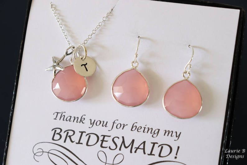 Sterling Silver Brush Pink Gemstone Personalized Bridesmaid Gift Jewelry 3 Starfish Initial Bridesmaid Necklace and Earring set Pink