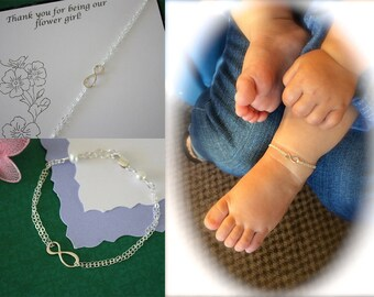 2 Flower Girl Gifts, Infinity Anklets, Child Jewelry, Silver Infinity, Sterling Silver, Flower Girl Anklet, Thank You Card, Gold