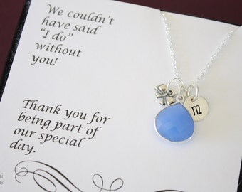 8 Tie the Knot Bridesmaid Personalized Necklace Blue, Bridesmaid Gift, Blue Gemstone, Sterling Silver, Initial Jewelry, Teardrop, Monogram