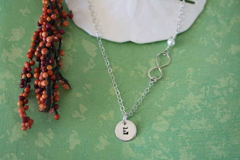 2 Bridesmaid Infinity Necklace Infinity Jewelry Bridesmaid Gifts Sterling Silver Necklace White Pearl Thank You Card