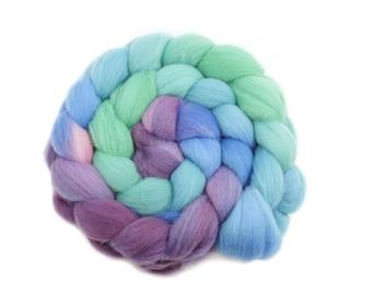 Roving - Handpainted Roving - Peacock - Targhee Wool - 4 Ounces
