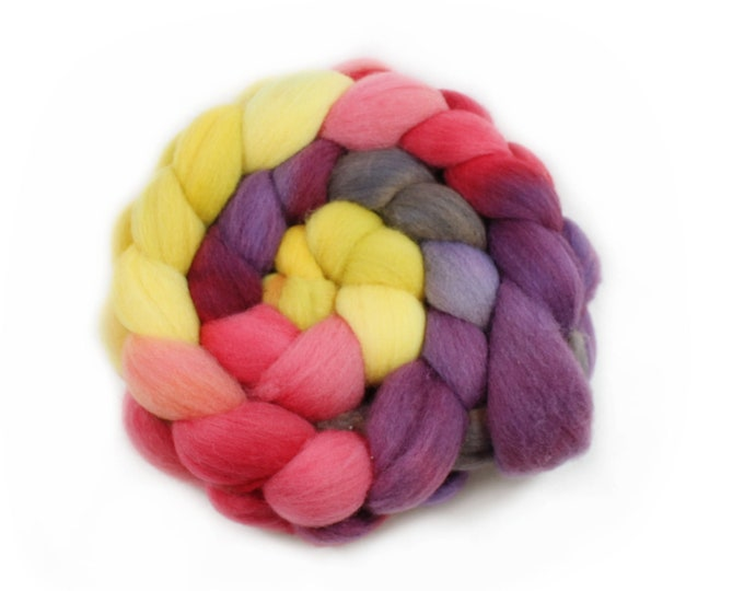 Featured listing image: Roving - Hand Dyed Roving - Winter Lily - Targhee Wool - 4 Ounces