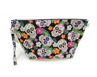 Project Bag - Knitting Project Bag - Yarn Bag - Cosmetic Bag - Bag with Divider - Zipper Project Bag - Sugar Skull