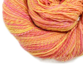 Handspun Yarn - Pink Flame  - Merino, Worsted Weight, 308 yards