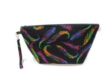 Project Bag - Knitting Project Bag - Yarn Bag - Cosmetic Bag - Bag with Divider - Zipper Project Bag - Feathers